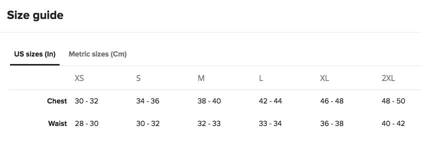 AA Unisex Triblend Size Chart